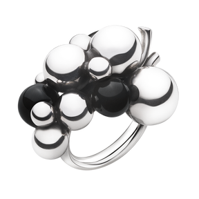 MOONLIGHT GRAPES ring - sterling silver med svart onyx, stor