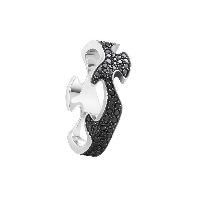 FUSION centre ring - 18 kt. white gold with black diamonds