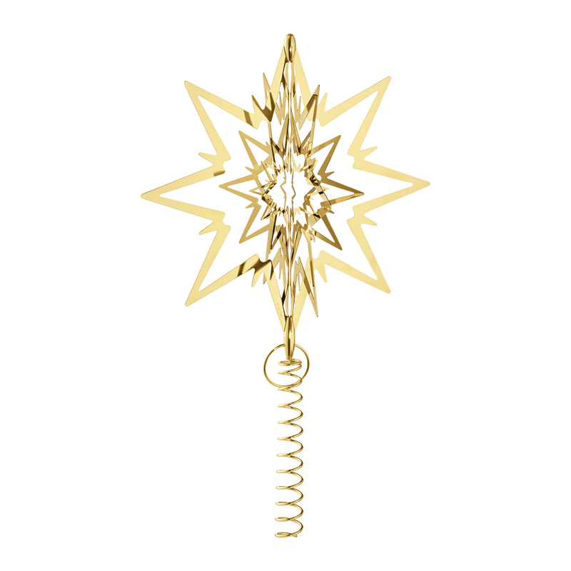 STAR for the Christmas tree, large, gold plated