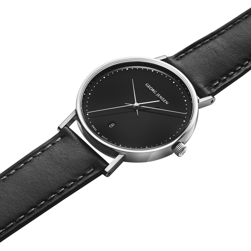 KOPPEL - 38 mm, Quartz, black dial, black leather strap