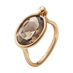 SAVANNAH ring – 18 kt. rosegull med røykkvarts, medium