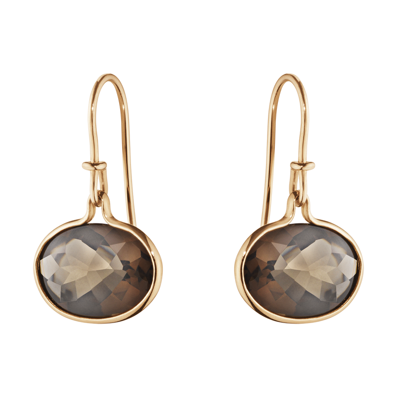SAVANNAH earrings - 18 kt. rose gold with smokey quartz