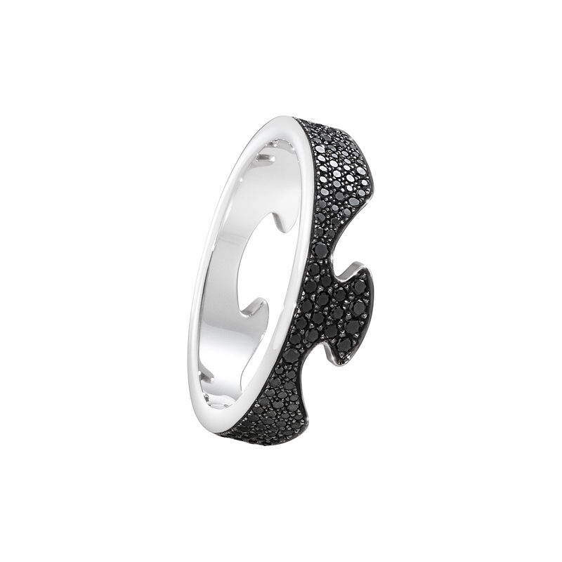 FUSION end ring - 18 kt. white gold with black diamonds