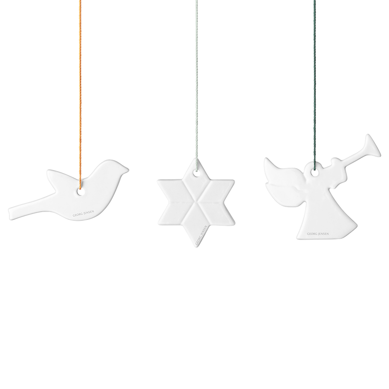DECEMBER TALES Ornaments, star, angel and bird, porcelain
