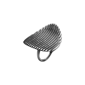 LAMELLAE ring I - black rhodium plated sterling silver with black diamonds