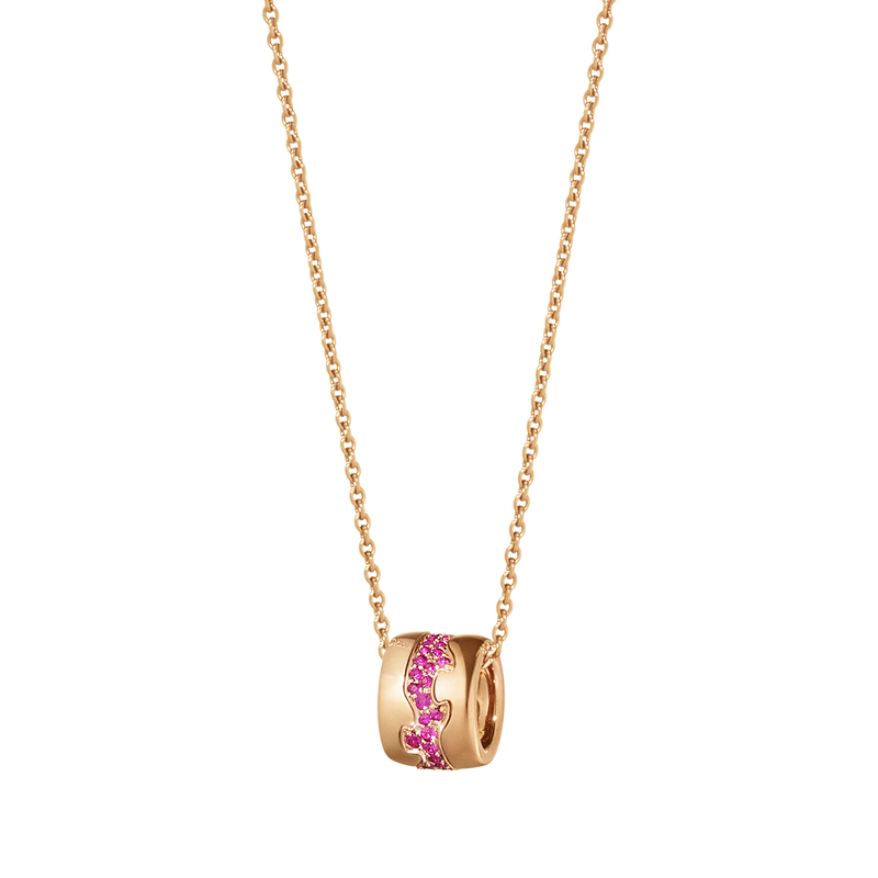 FUSION pendant - 18 kt. rose gold with pavé set rubies