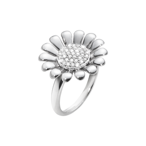 SUNFLOWER ring - sterling silver with brilliant cut diamonds, large