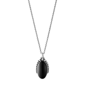 MOONLIGHT BLOSSOM pendant - oxidised sterling silver with black onyx
