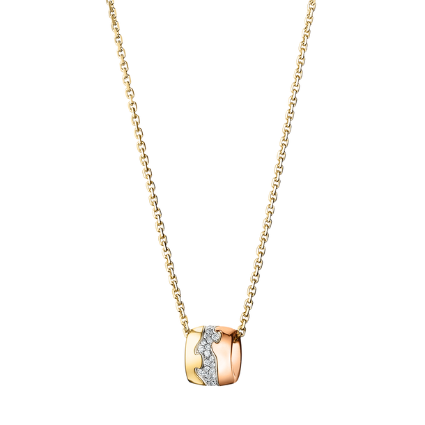 FUSION pendant - 18 kt. yellow, rose and white gold with pavé set brilliants