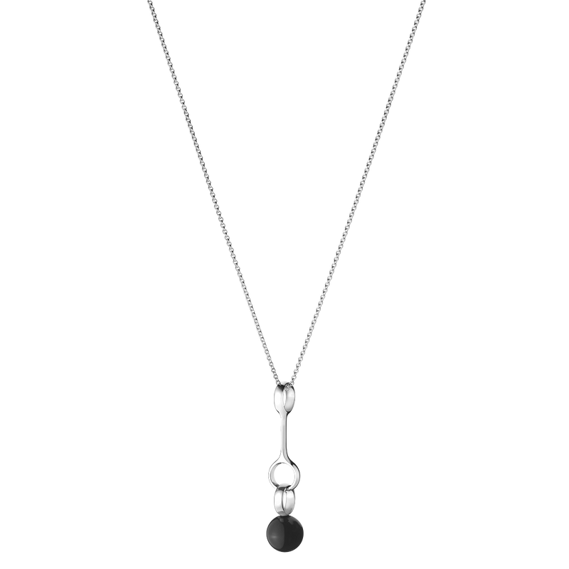 SPHERE pendant - sterling silver with black onyx