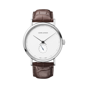 KOPPEL - 38 mm, Mechanical hand-wound, white dial, brown alligator strap