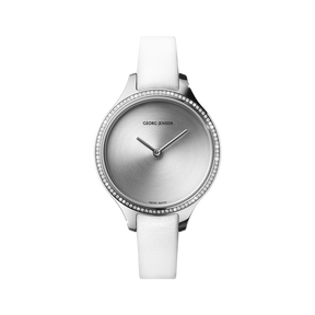 CONCAVE - 30 mm, Quartz, sunray dial, diamond bezel, white leather strap
