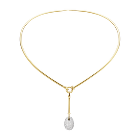 DEW DROP neckring with pendant - 18 kt. yellow and white gold with brilliant cut diamonds