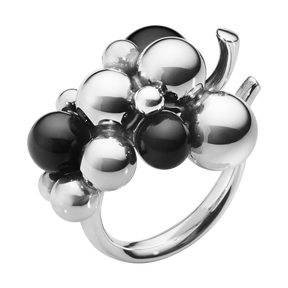 MOONLIGHT GRAPES RING - oxidised sterling silver with black onyx, medium