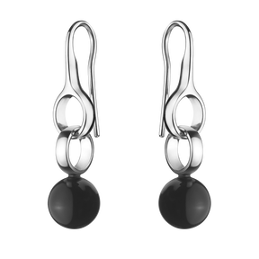 SPHERE earrings - sterling silver with black onyx