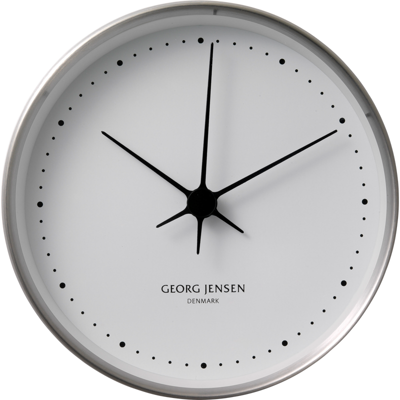 KOPPEL 22 cm wall clock, stainless steel with white dial