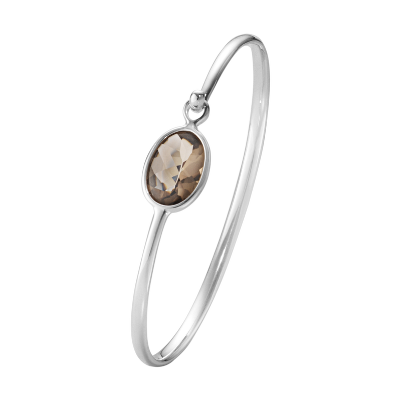 SAVANNAH BANGLE - STERLING SILVER WITH SMOKEY QUARTZ