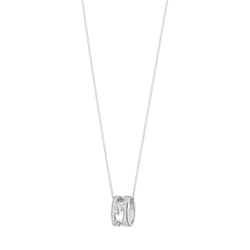 FUSION open pendant – 18 kt. white gold with full pavé 0.43 ct
