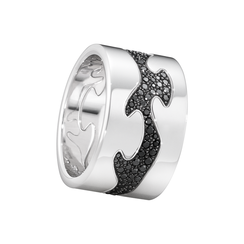 FUSION 3-piece ring - 18 kt. white gold with black diamonds