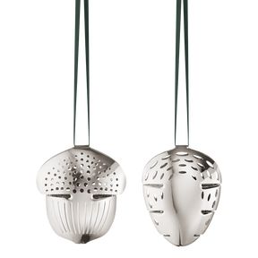 2018 Holiday Ornament Acorn and Pinecone set, palladium plated