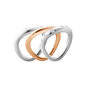 OFFSPRING ring combination - 18 kt. rose gold, sterling silver and brilliant cut diamonds