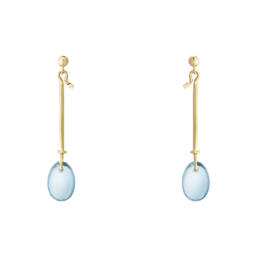 DEW DROP earrings - 18 kt. yellow gold with blue topaz
