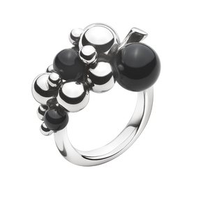 MOONLIGHT GRAPES ring - sterlingsølv med sort onyx, lille
