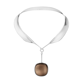 DEW DROP neckring with pendant - sterling silver with smokey qartz