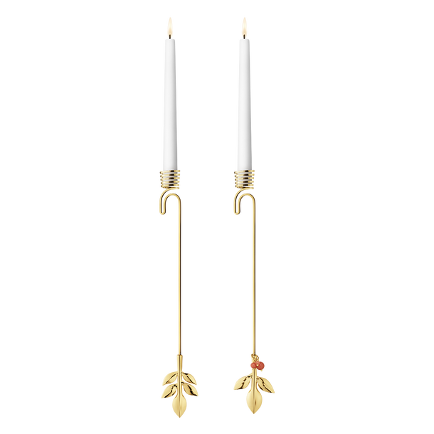 2016 Candleholder set, Magnolia Leaf and Leaf with Berries, gold plated