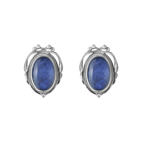 2017 HERITAGE earclips - oxidised sterling silver with sodalite and rock crystal