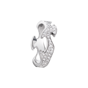 FUSION centre ring - 18 kt. white gold with pavé set brilliant cut diamonds