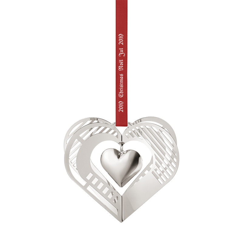2019 Christmas Mobile, Heart - palladium plated