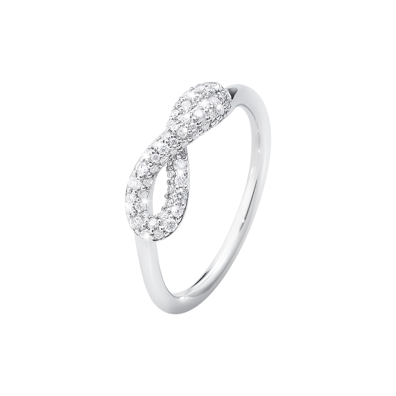 INFINITY ring - sterling silver with brilliant cut diamonds