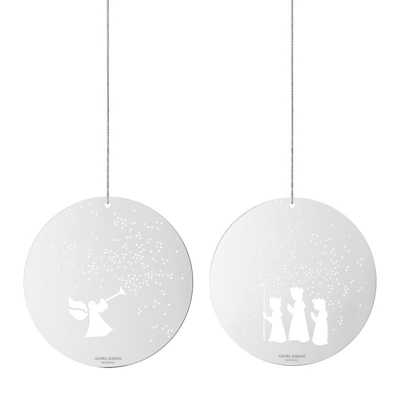 DECEMBER TALES Ornaments, angel and the 3 wise men, small, mirror, 2 pcs.