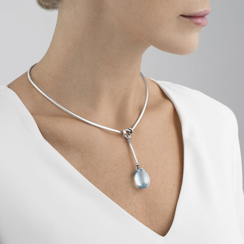 DEW DROP neckring and pendant - sterling silver and blue topaz with brilliant cut diamonds