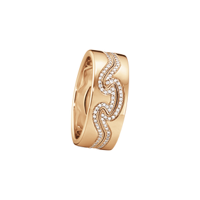 FUSION 2-piece ring - 18 kt. rose gold with brilliant cut diamonds