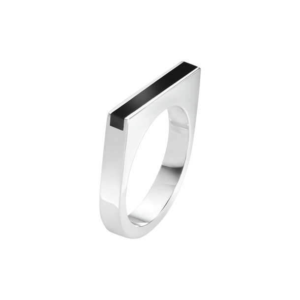 ARIA ring - sterling silver and black onyx