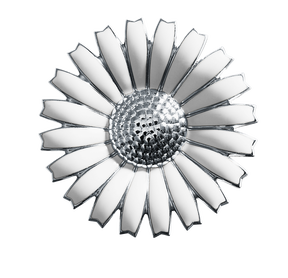 DAISY brooch/pendant - rhodinated sterling silver with white enamel