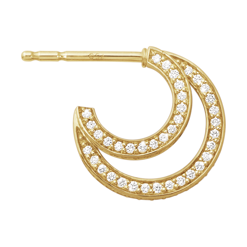 HALO earhoops - 18 kt. gold with brilliant cut diamonds