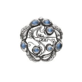 MOONLIGHT BLOSSOM brosch - sterling silver med månsten