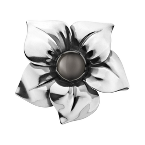 FLOWER ring - sterling silver with grey moonstone