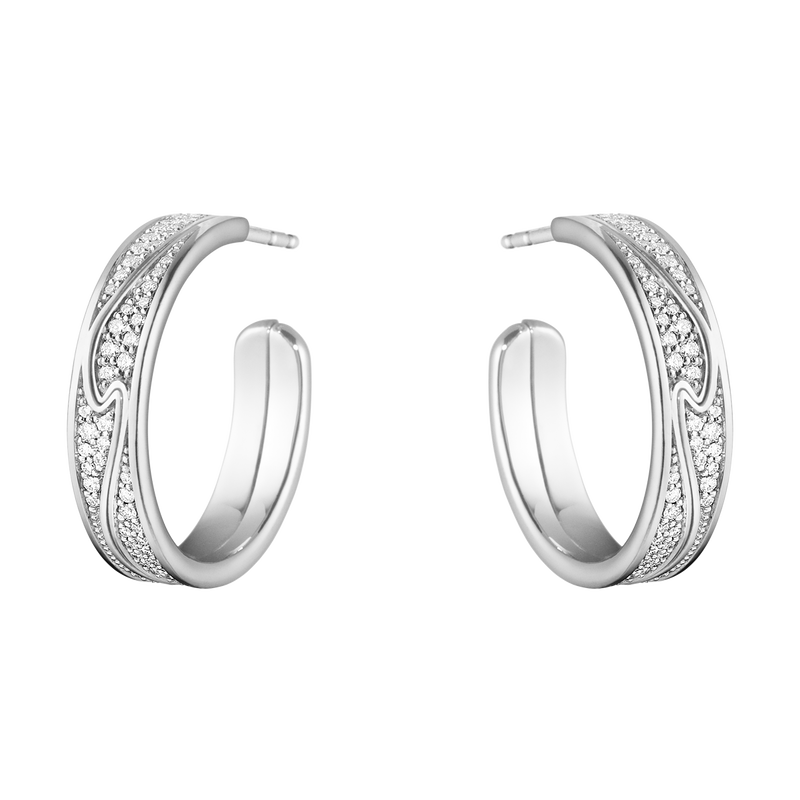 FUSION large earhoop – 18 kt. white gold with full pavé 0.54 ct