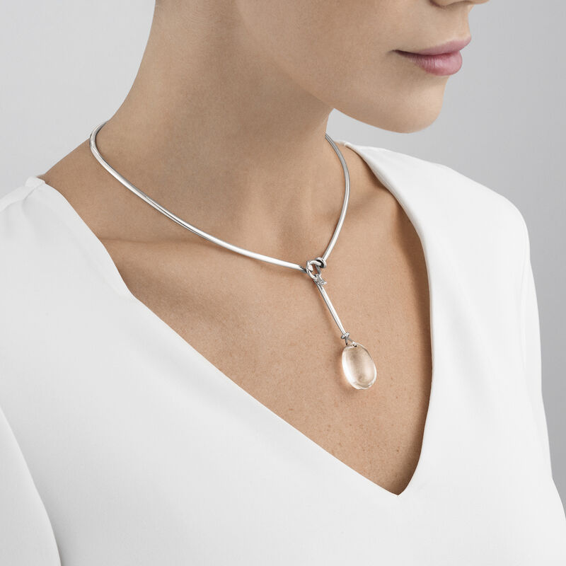 DEW DROP neckring and pendant - sterling silver and rock crystal with brilliant cut diamonds