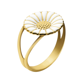 DAISY ring - rhodinated sterling silver with white enamel