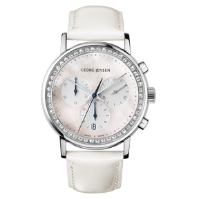 KOPPEL - 38 mm, Quartz, white mother-of-pearl dial, diamond bezel, white calfskin strap