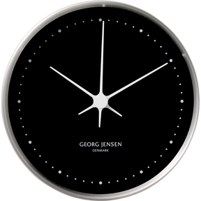 KOPPEL 10 cm wall clock, stainless steel with black dial