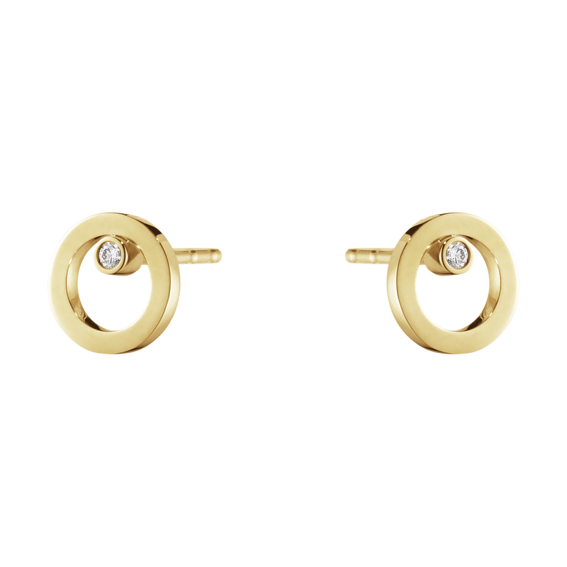 HALO earrings - 18 kt. gold with brilliant cut diamond