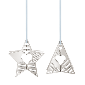 2019 Holiday Ornaments, Star and Tree - Palladium Plated