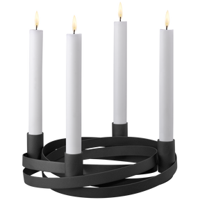 Ribbons Candleholder for 4 candles, black, large