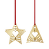 2019 Holiday Ornaments, Star and Tree - Gold Plated